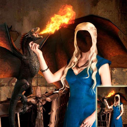 Шаблон psd женский - С драконом