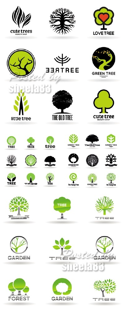 Various Trees Icons Vector